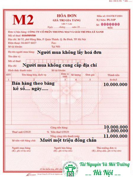 Bảng hóa đơn mẫu